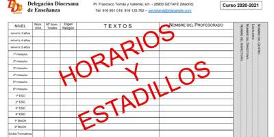 ENTREGA DE ESTADILLOS Y HORARIOS